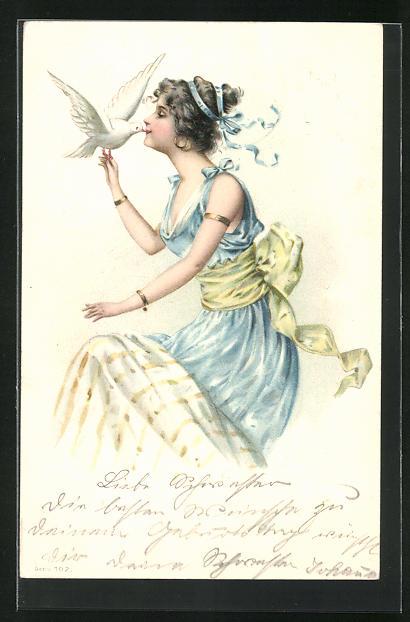 Lithographie Junge Frau küsst eine weisse Taube, Jugendstil