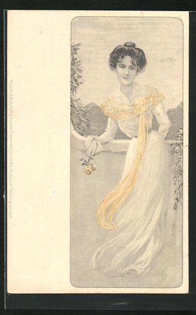Lithographie Schöne Frau mit gelber Rose, Jugendstil