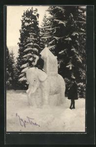 AK Eisplastik eines Reitelefanten