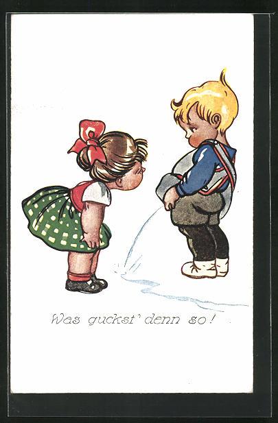 AK Urinierender Junge fragt die Freundin Was guckst` denn so?
