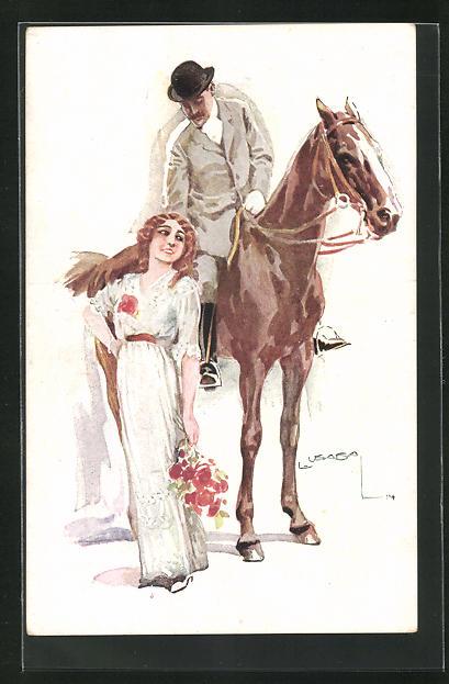 Künstler-AK Luis Usabal: Reiter auf Pferd neben Dame mit Blumenstrauss