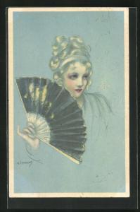 Künstler-AK A. Zandrino: Dame mit hochgesteckten Haaren, Fächer in Hand