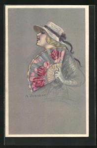 Künstler-AK A. Zandrino: Dame mit Hut und Fächer mit Rosen
