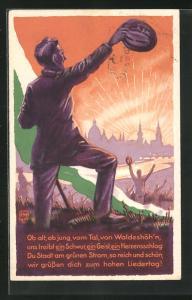 AK Dresden, 1. Sächsisches Sängerbundes-Fest 1925, Menschen jubeln mit Blick auf Stadt