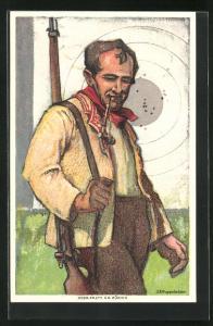 AK Schützenverein Schweiz, Mann in Tracht mit geschultertem Gewehr, 1824-1924
