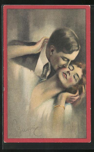 AK Art Deco, Herr in Anzug mit Krawatte küsst Dame auf Wange