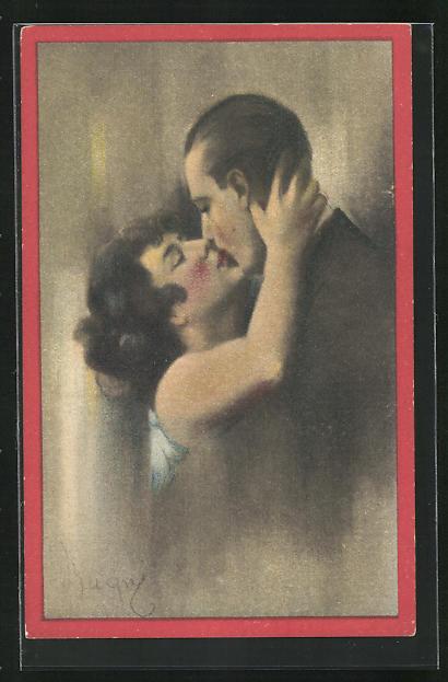 AK Art Deco, Mann und Frau küssen sich innig