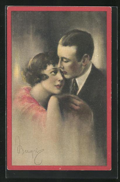 AK Art Deco, Frau schmiegt sich an Herrn, halten sich an Händen
