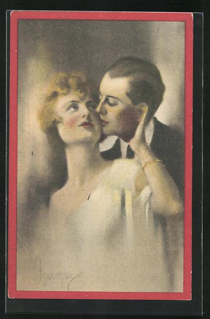 AK Art Deco, Herr küsst Dame auf Wange