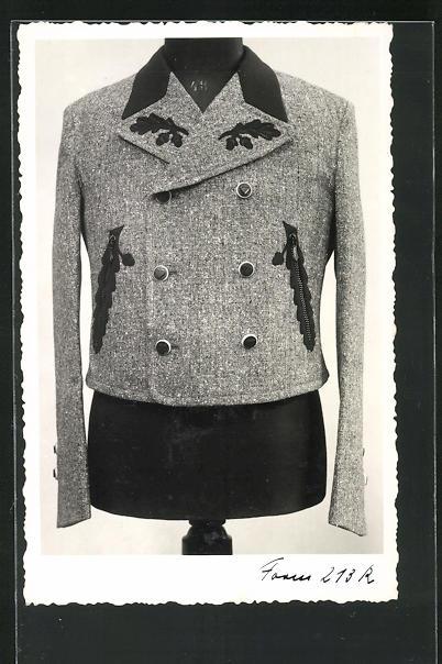AK Mode, kurzes graues Damenjackett mit Applikationen und zweireihig geknöpft 0