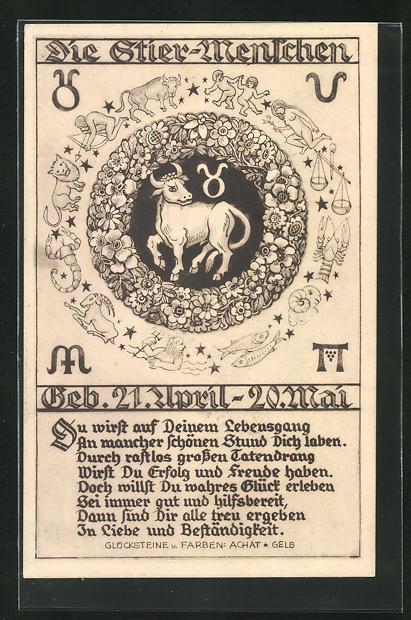 AK Sternzeichen Stier, Beschreibung der Stier-Menschen