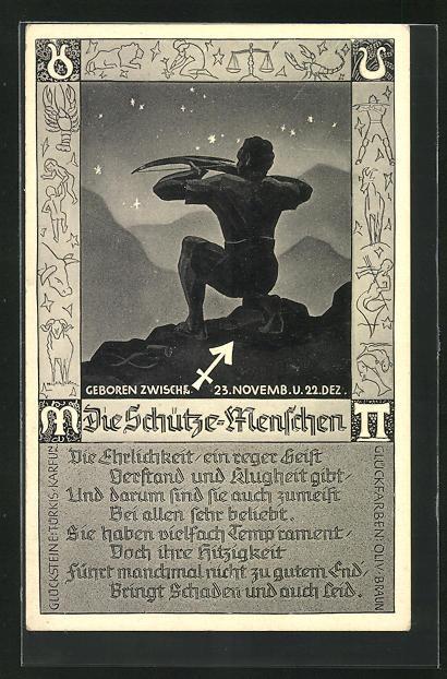 AK Sternzeichen Schütze, Gedicht mit Eigenschaften von Schütze-Menschen