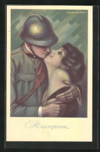 Künstler-AK Nanni: Soldat mit Helm hält Frau im Arm und küsst sie, Ricompensa