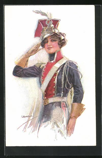 Künstler-AK Luis Usabal: Frau in Uniform mit Mütze salutiert