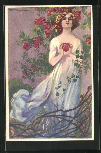 Künstler-AK Tito Corbella: Dame in wallendem Kleid unter Rosenbusch hält ein Herz in der Hand