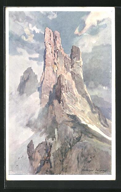 Künstler-AK Edward Harrison Compton: Die Vajolet-Türme in der Rosengartengruppe, Dolomiten