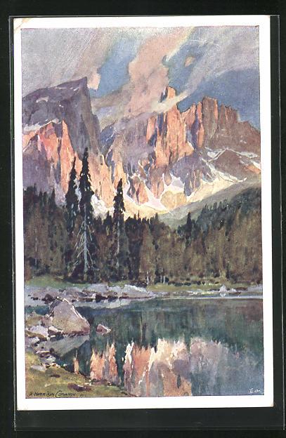 Künstler-AK Edward Harrison Compton: Il Lago di Carezza Sulla Strada delle Dolomiti, Bergsee mit Dolomiten