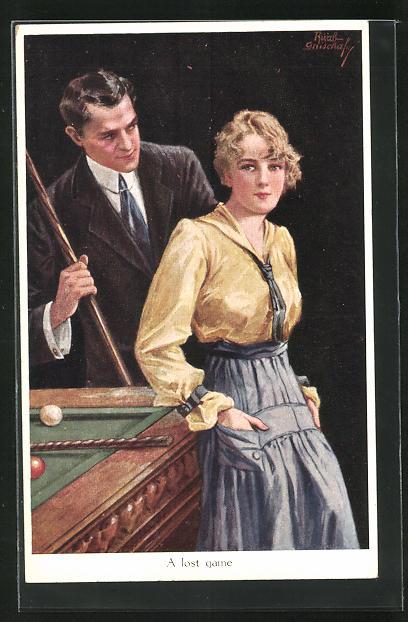 Künstler-AK Ruab Gnischaf: Frau lehnt sich an Billiard Tisch, Herr mit Queue betrachtet sie seitlich, A lost game