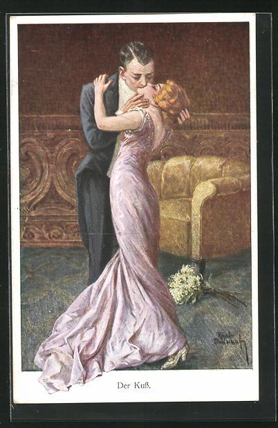 Künstler-AK Ruab Gnischaf: Der Kuss, Herr in Frack küsst Dame in langem Kleid leidenschaftlich
