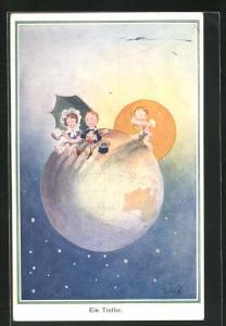 Künstler-AK T. Gilson: Ein Treffer, Mädchen und Junge sitzen auf Weltkugel, Amor schiesst Pfeil
