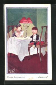 Künstler-AK T. Gilson: Kassensturz, Mädchen in Restaurant studiert die Speisekarte, Junge hat nur ein paar Münzen