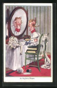 Künstler-AK T. Gilson: Mädchen in Unterwäsche richtet das Haar am Frisiertisch, Hochzeitsartikel wild verstreut