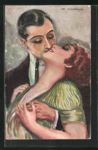 Künstler-AK de Godella: Heisses Blut, Herr küsst Dame leidenschaftlich mit Hand an ihrer Brust