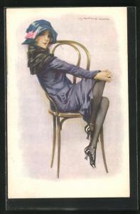 Künstler-AK de Godella: Dame auf Stuhl mit übereinander geschlagenen Beinen