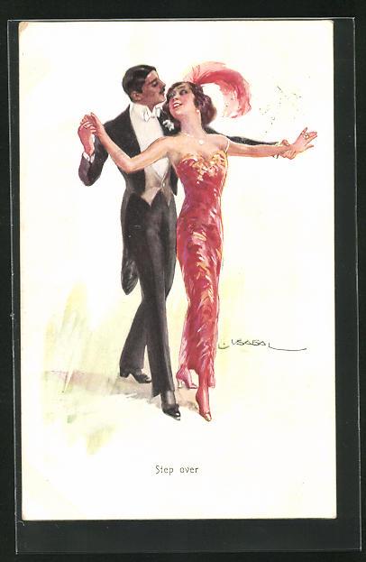 Künstler-AK Luis Usabal: Step over, elegantes Paar, er in Frack, beim Tanz