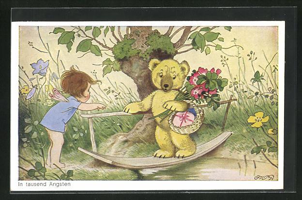 Künstler-AK Fritz Baumgarten: in tausend Ängsten, Bär mit Blumen und Korb auf Brett über Wasser schaut besorgt