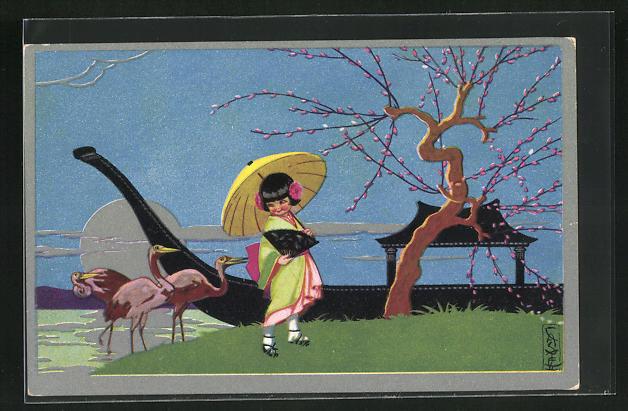 Künstler-AK Castelli: japanisches Mädchen neben Baum mit Knospen, Boot und rosafarbene Wasservögel