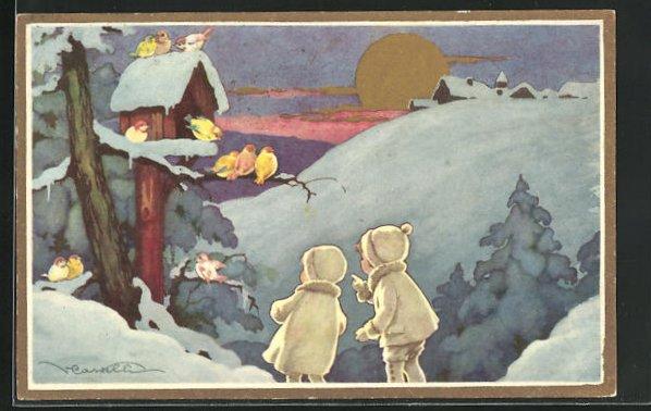 Künstler-AK Castelli: Mädchen und Junge in Winterkleidung betrachten Vögel im Vogelhaus, Schneelandschaft