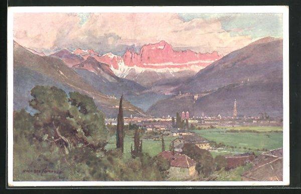 Künstler-AK Edward Harrison Compton: Bozen mit dem Rosengarten, Dolomiten mit Stadt