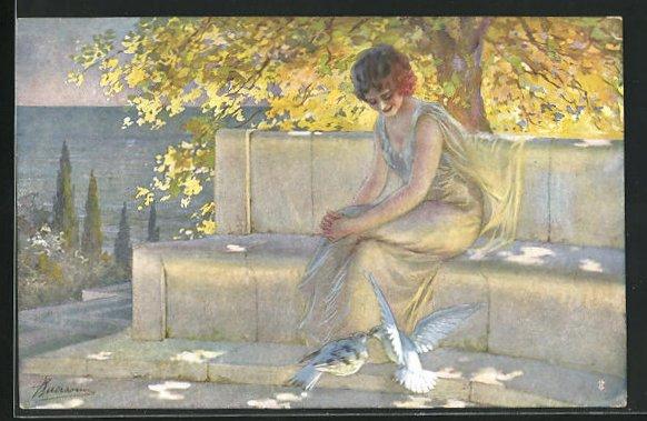 Künstler-AK G. Guerzoni: Dame in dünnen Kleid unter goldenen Baum mit Turteltauben