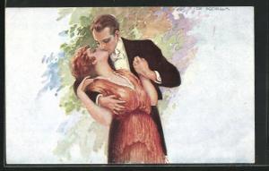 Künstler-AK de Godella: Mann in eleganter Garderobe küsst Dame leidenschaftlich
