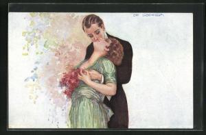 Künstler-AK de Godella: Herr küsst Dame von hinten leidenschaftlich