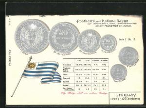 AK Uruguay, Münzen mit Umrechnungstabelle, Fahne