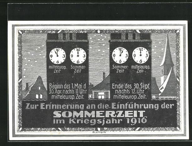 AK Zeitumstellung, Zur Erinnerung an die Einführung der Sommerzeit im Kriegsjahr 1916, Turmuhren