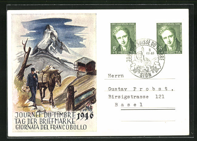 AK Tag der Briefmarke, Verband der Schweizer Philatelisten Vereine 1946, Postbote mit Packtier in Gebirge