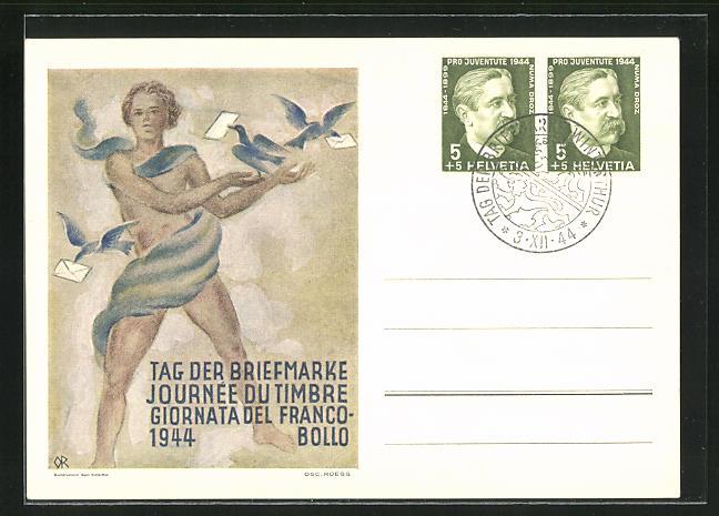AK Tag der Briefmarke, Verband der Schweizer Philatelisten Vereine 1944, junger Mann mit Brieftauben