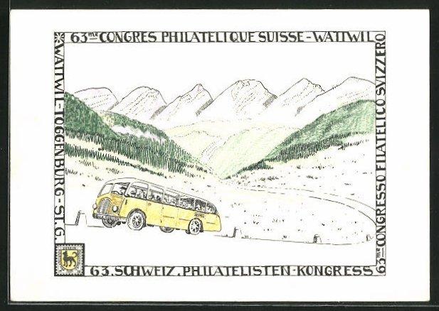 AK Wattwil, Schweizer Philatelisten-Kongress, Juni 1953, Postauto Wattwil-Hemberg mit Churfirsten