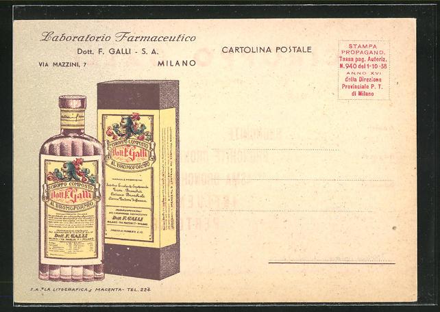 AK Medikament, Dott. F. Galli, Al Bromoformio, Flasche mit Verpackung