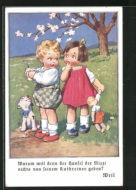 AK Kaffee, Kathreiner für Kinder, Junge möchte nichts von seinem Kaffee einem Mädchen abgeben, Hund will auch