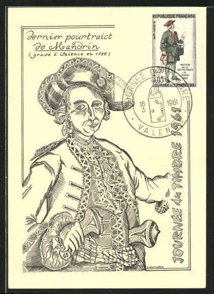 AK Valence, Briefmarken Ausstellung 1961, Dernier pourtraict de Mandrin