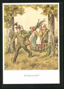 Künstler-AK Heinz Geilfus: Waidmannsheil, Jäger mit drei Reisig sammelnden alten Hutzelweiber