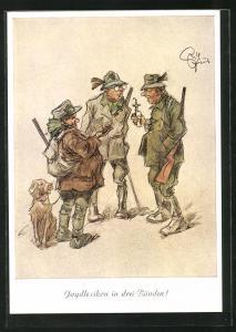 Künstler-AK Heinz Geilfus: drei Jäger im Gespräch, Jagdlexikon in drei Bänden