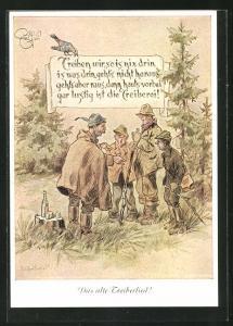 Künstler-AK Heinz Geilfus: vier Jäger besprechen Treibjagd, Das alte Treiberlied, Gedicht