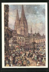 AK Köln, Fasching vor dem Kölner Dom, Ganzsache