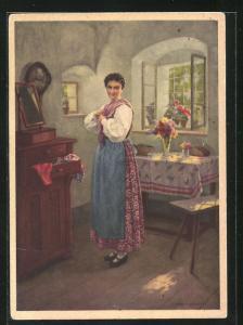 AK Reklame für mit Indanthren gefärbte Stoffe, Bäuerin in Stube hat sich fertig angekleidet