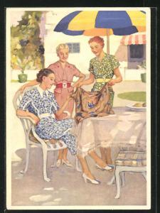 AK Reklame für mit Indanthren gefärbte Stoffe, Damen bewundern einen Stoff
